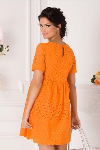 Rochie Leny de vara portocalie din dantela
