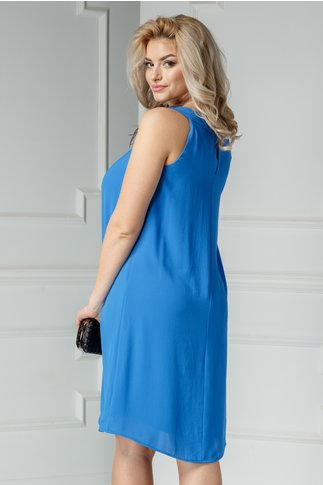 Rochie Leonard Collection albastra cu aplicatii