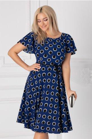 Rochie Leonard Collection albastra cu buline negre