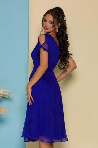 Rochie Leonard Collection albastra din matase naturala