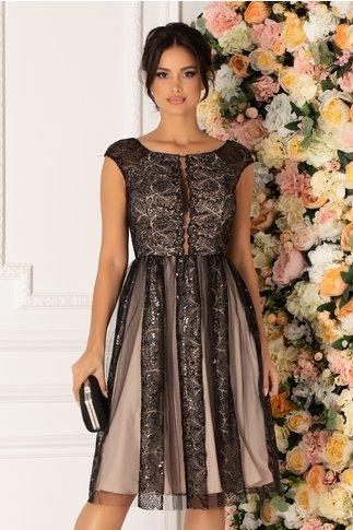Rochie Leonard Collection bej cu broderie florala neagra si paiete
