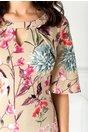 Rochie Leonard Collection bej cu imprimeu floral colorat