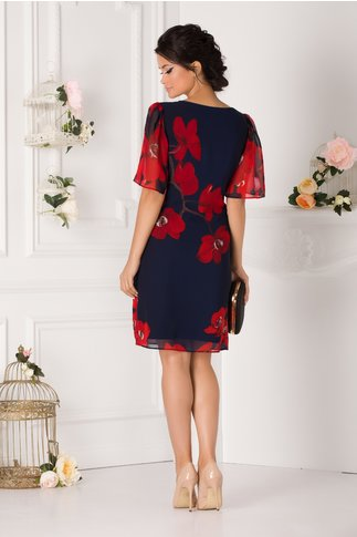 Rochie Leonard Collection bleumarin cu flori maxi rosii