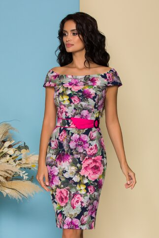 Rochie Leonard Collection bleumarin cu imprimeu floral si cordon in talie