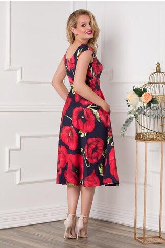 Rochie Leonard Collection bleumarin cu imprimeu maxi cu maci rosii
