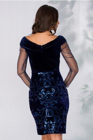 Rochie Leonard Collection bleumarin cu maneci din tull cu glitter