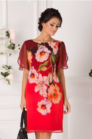 Rochie Leonard Collection bordo-corai in degradee cu imprimeu floral