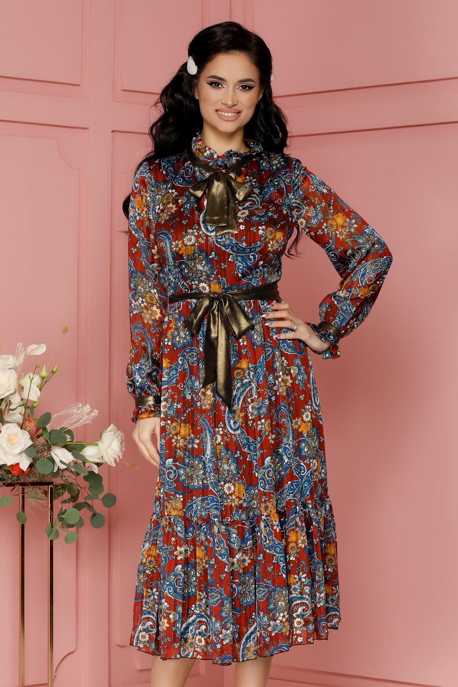 rochie leonard collection caramizie cu imprimeu albastru si lurex 487179 4