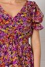 Rochie Leonard Collection cu imprimeu floral accesorizata cu volanase