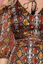 Rochie Leonard Collection cu print piele de sarpe maro