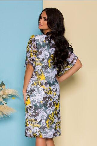 Rochie Leonard Collection din voal gri cu imprimeu floral galben