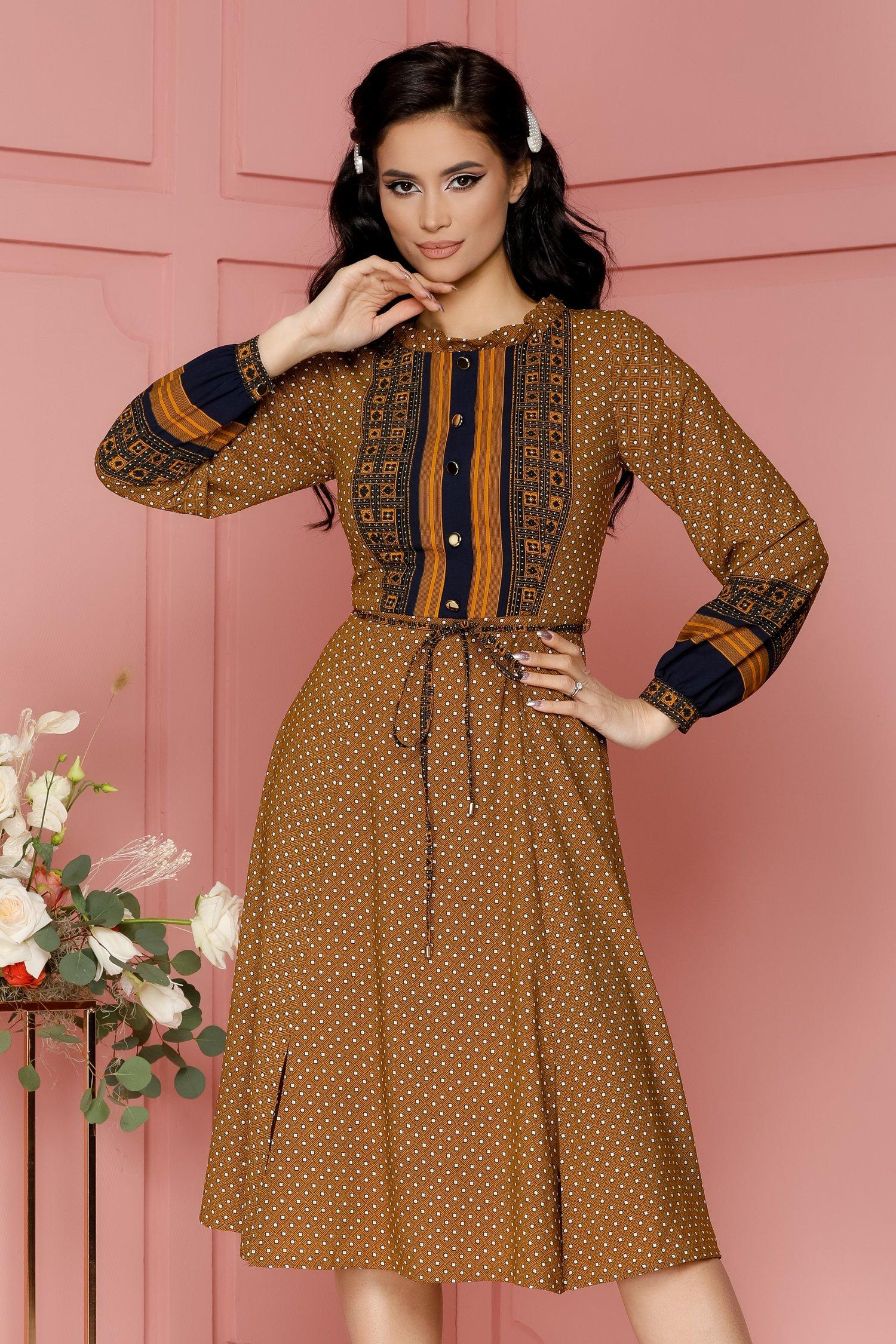 rochie leonard collection galben mustar cu imprimeu divers 486564 4