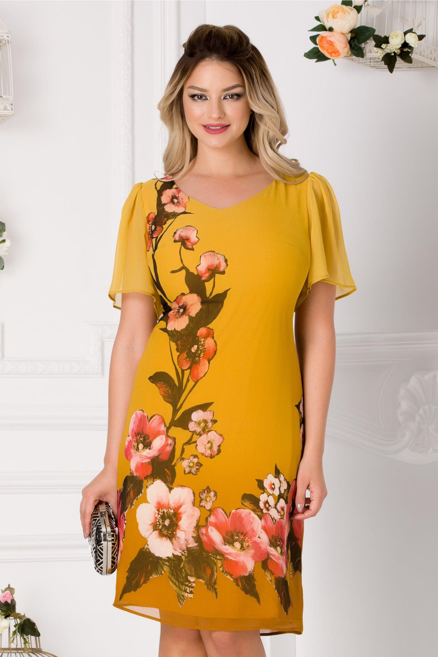 Rochie Leonard Collection galben mustar din voal cu imprimeu floral