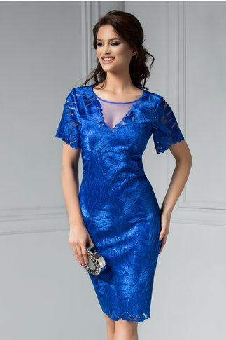 Rochie Leonard Collection Lucy albastra cu broderie si paiete