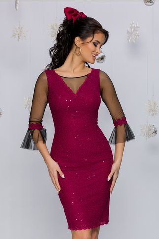Rochie Leonard Collection magenta accesorizata cu tull si paiete