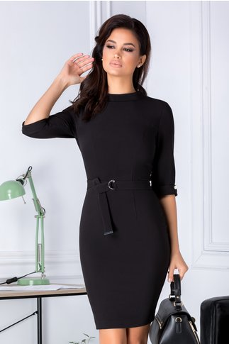 Rochie Leonard Collection neagra conica eleganta