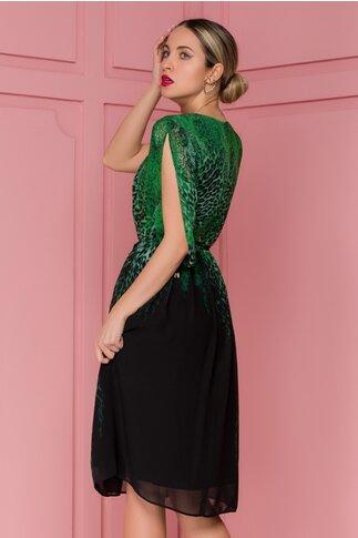 Rochie Leonard Collection neagra cu animal print verde