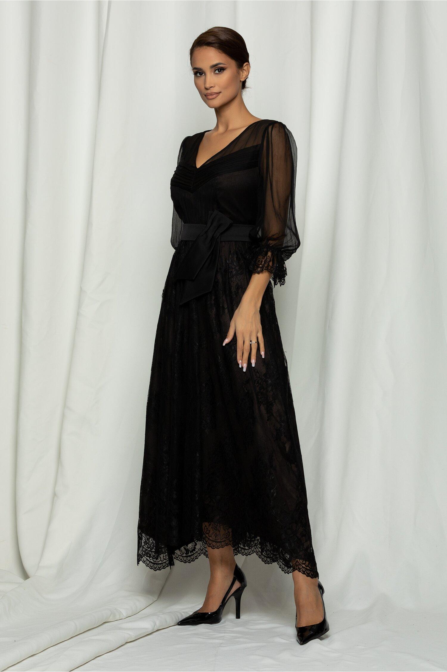 Rochie Leonard Collection neagra cu centura in talie