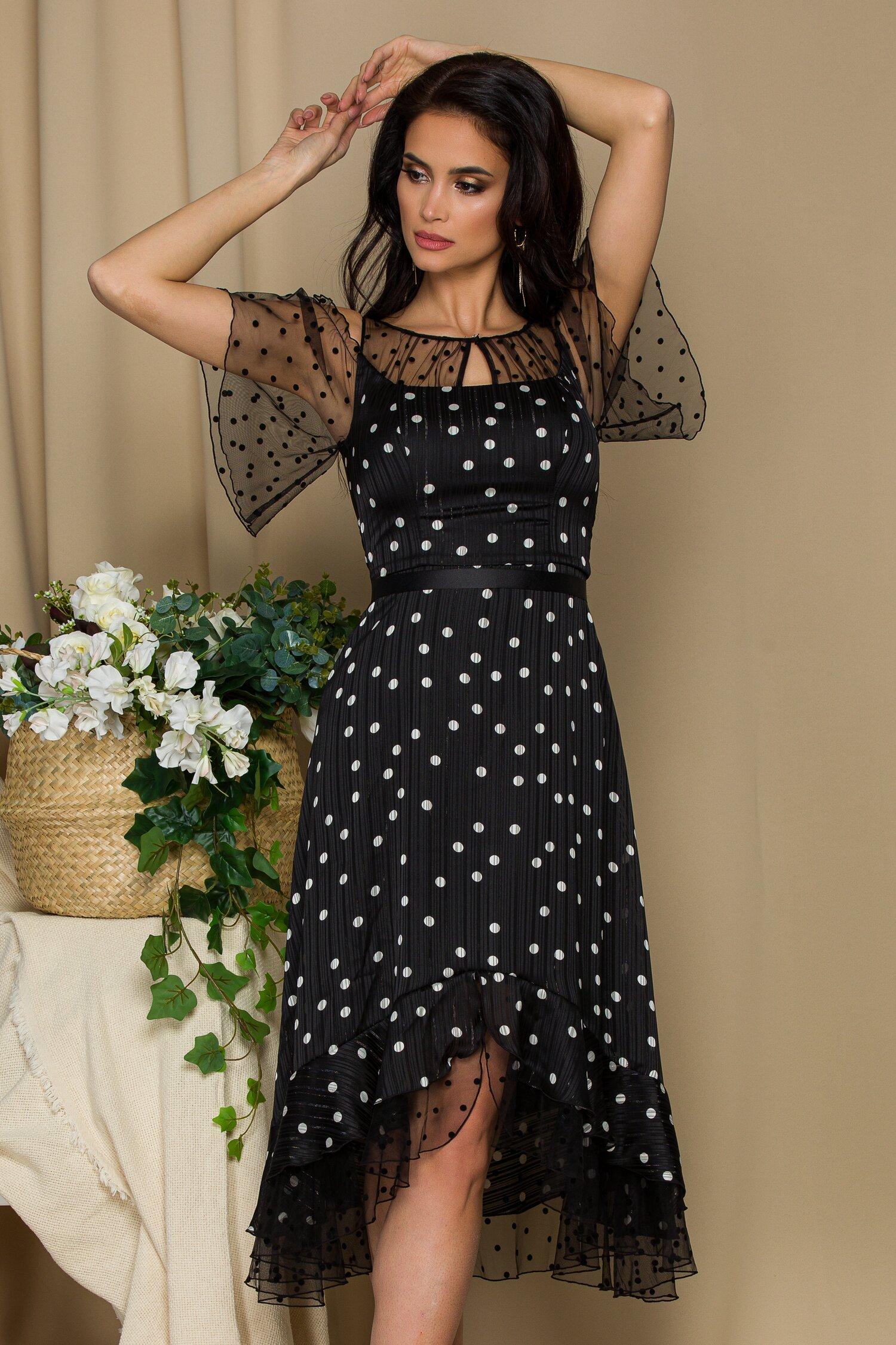 rochie leonard collection neagra cu fir stralucitor si buline albe accesorizata cu tull si buline catifelate 642300 4