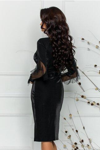 Rochie Leonard Collection neagra cu reflexii si insertii din tull