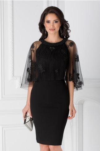 Rochie Leonard Collection neagra cu tull si decolteu accesorizat cu margele