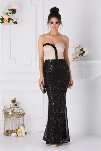 Rochie Leonard Collection negru cu bej si margelute