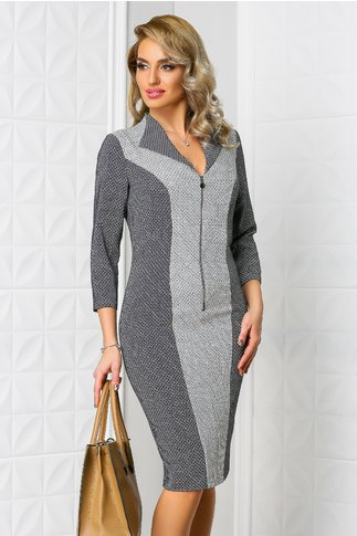 Rochie Leonard Collection Relia gri office cu fermoar