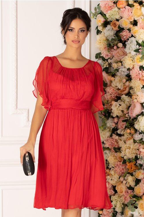 Rochie Leonard Collection rosie din matase naturala cu maneci decupate