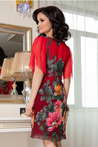 Rochie Leonard Collection rosie din voal cu imprimeu floral