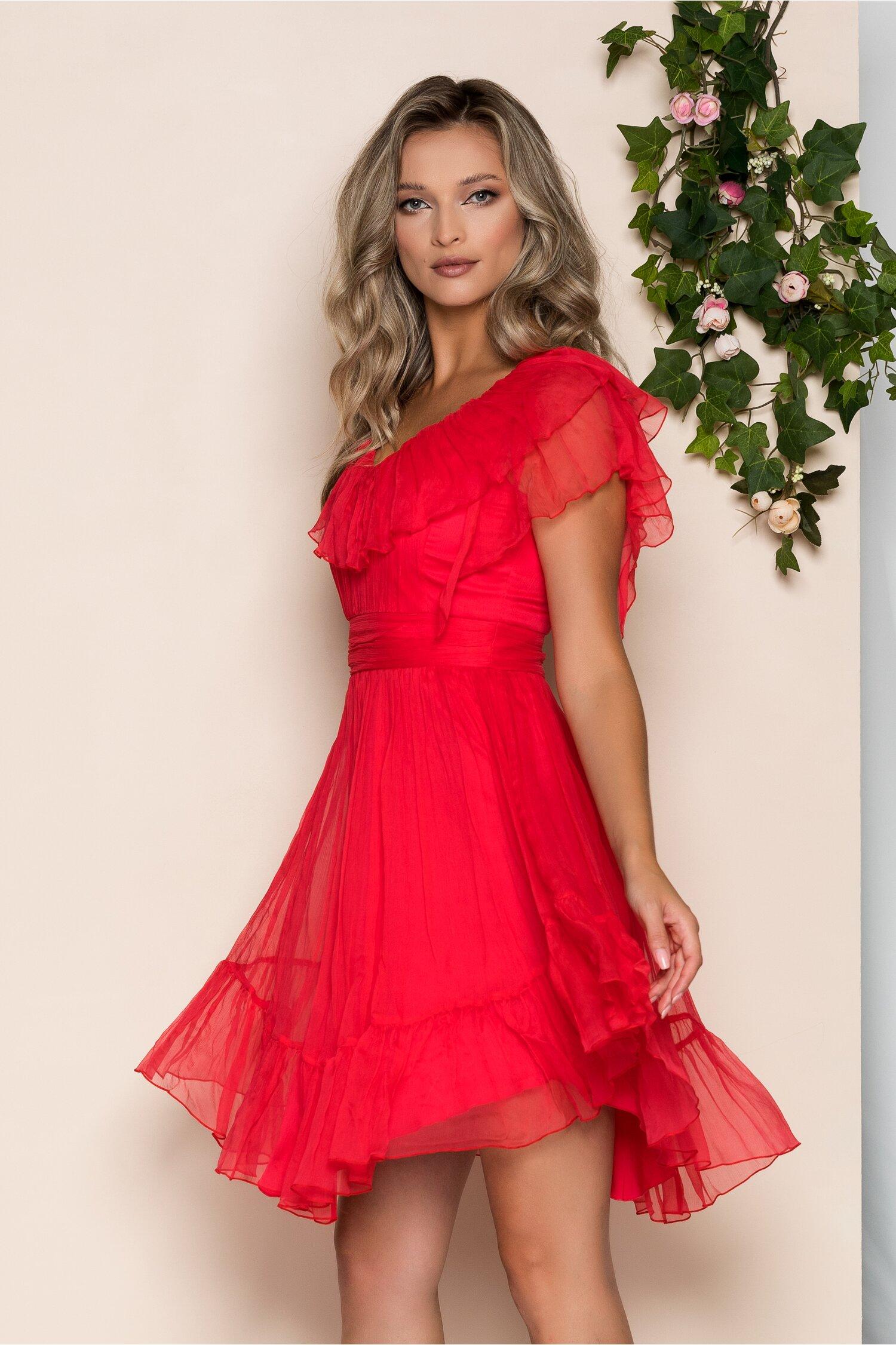 Rochie Leonard Collection rosu zmeura din matase cu pliuri la bust