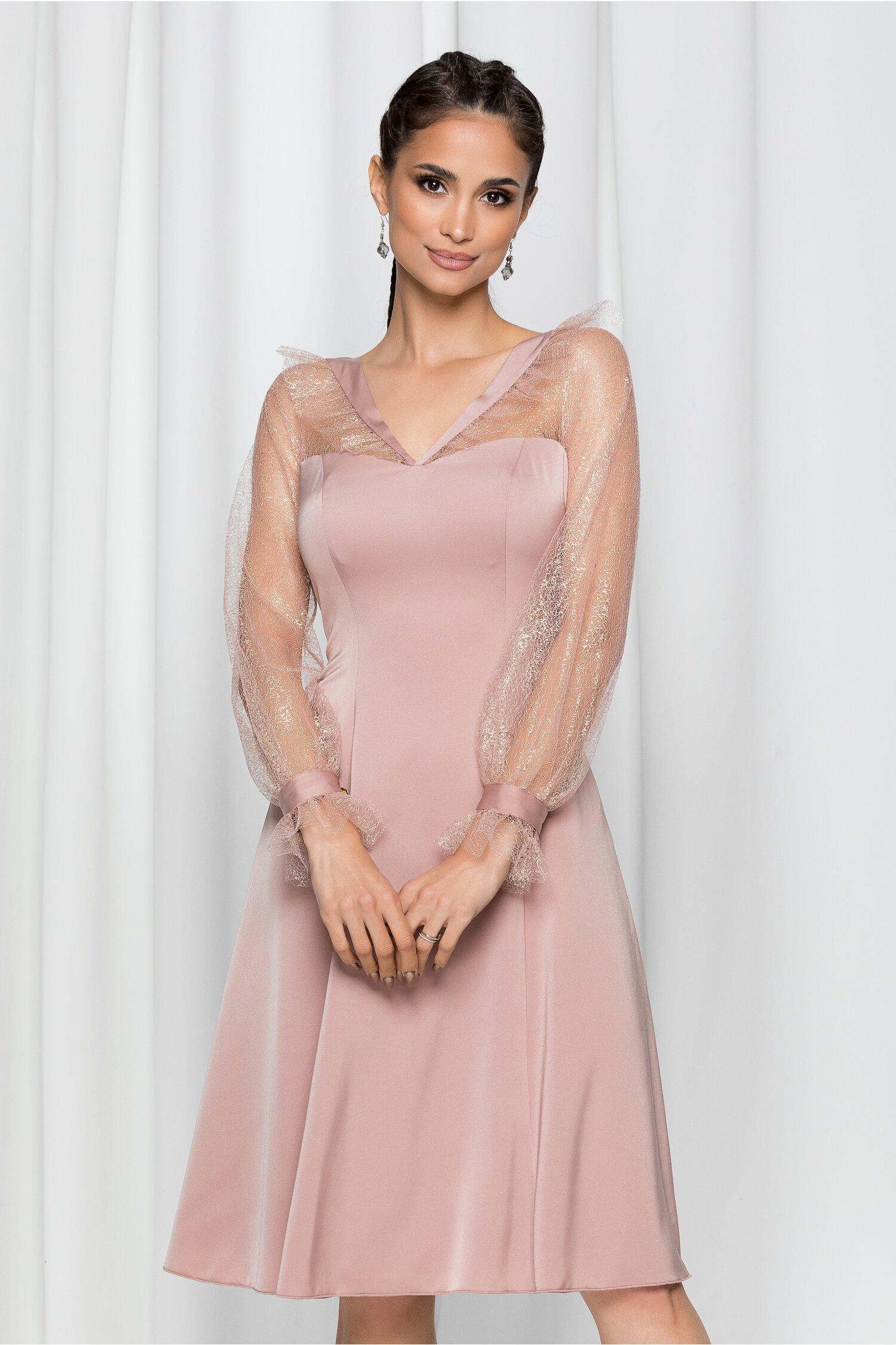 Rochie Leonard Collection roz prafuit cu insertii din fir de lurex