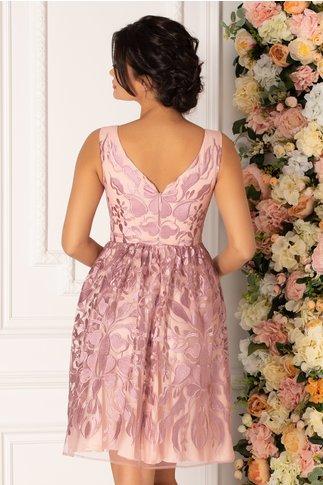 Rochie Leonard Collection roz pudrat cu broderie florala lila