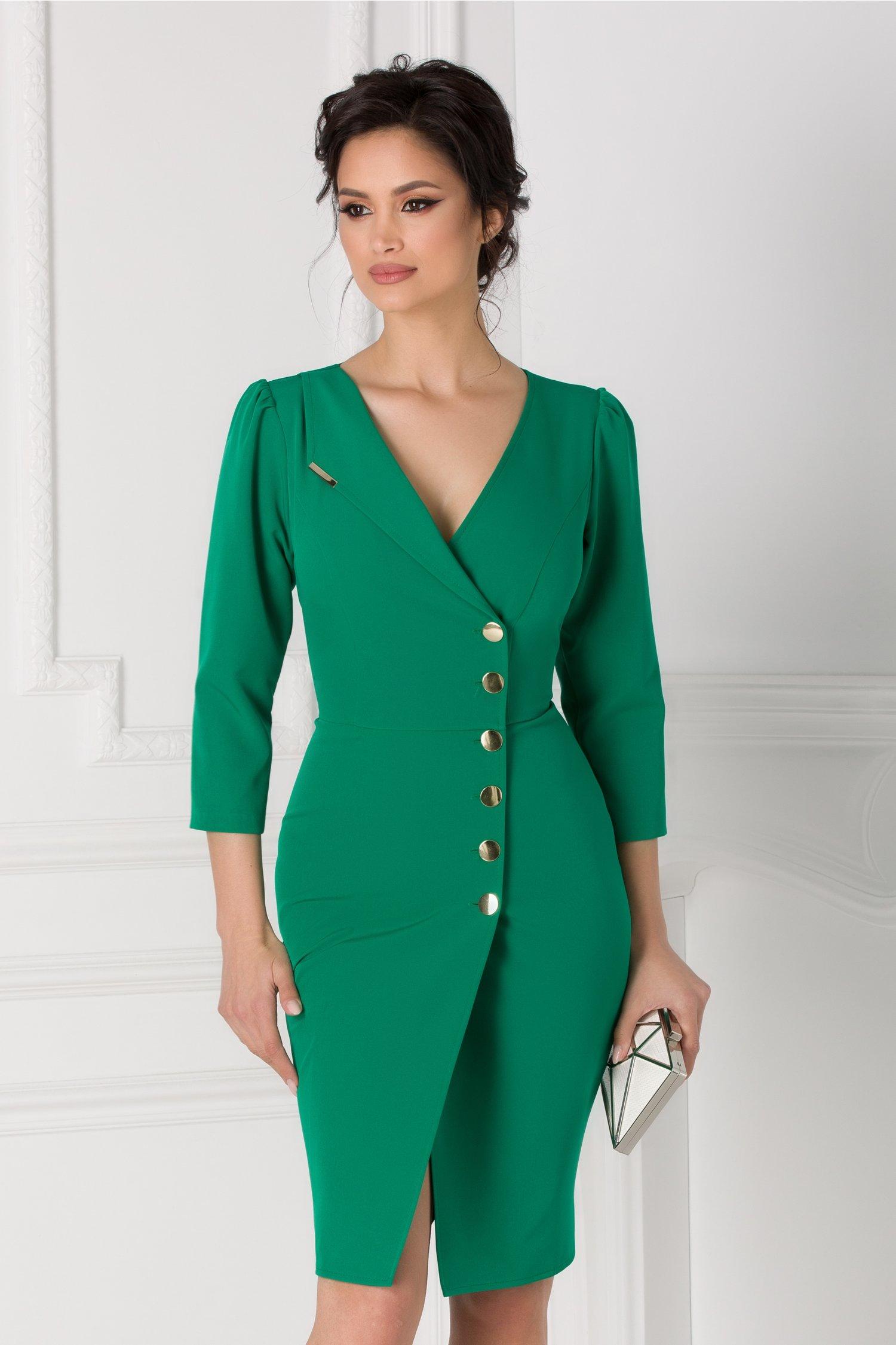 Rochie Leonard Collection tip sacou verde cu nasturi aurii