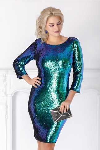 Rochie Leonard Collection turcoaz din paiete reversibile