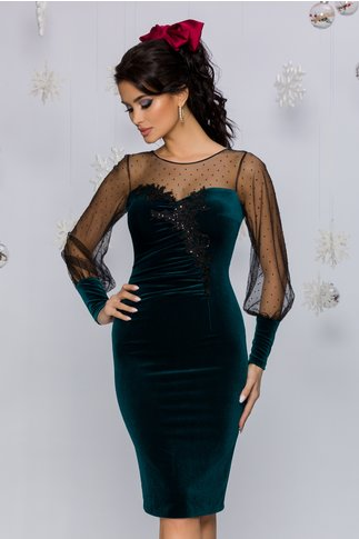 Rochie Leonard Collection verde cu strasuri si broderie