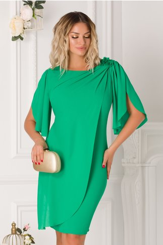 Rochie Leonard Collection verde cu voal petrecut si broderie florala