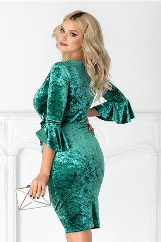 Rochie Leonard Collection verde din catifea petrecuta