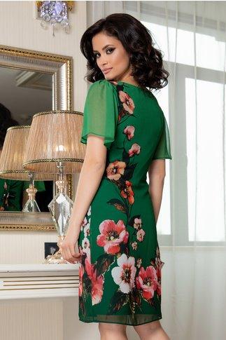 Rochie Leonard Collection verde din voal cu imprimeu floral