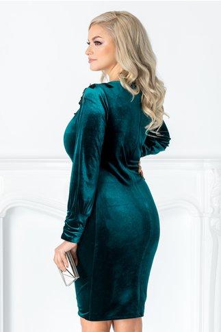 Rochie Leonard Collection verde smarald din catifea