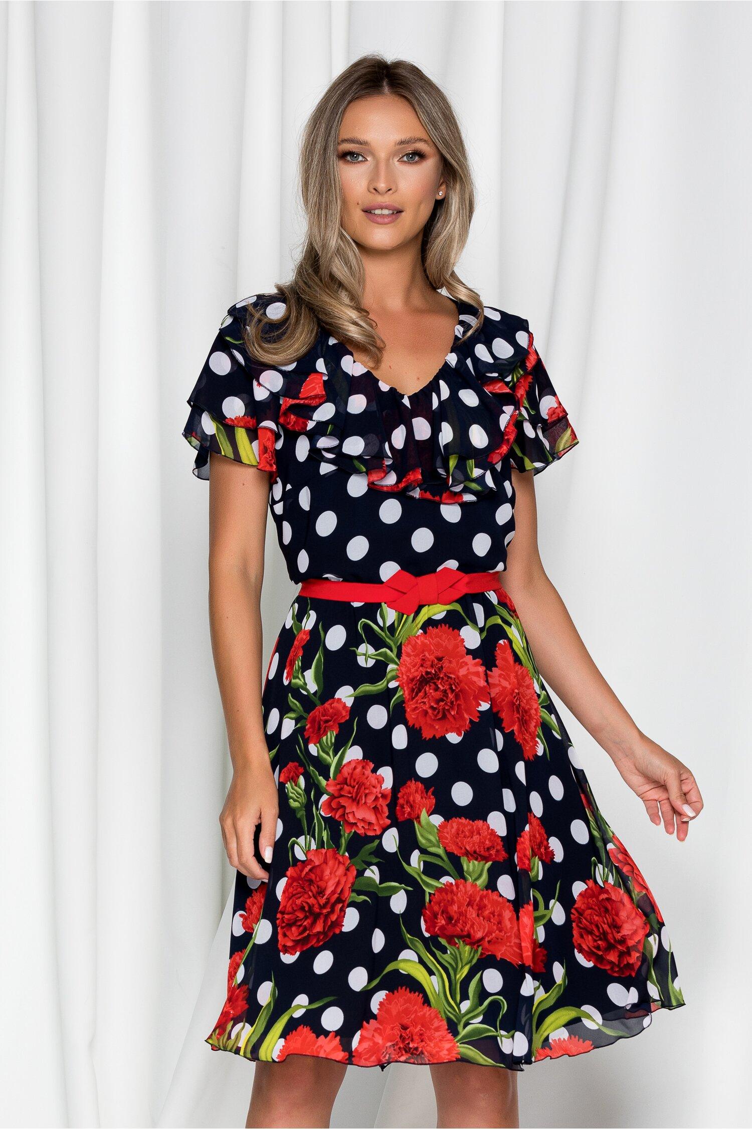 Rochie Lia bleumarin cu imprimeu floral si buline