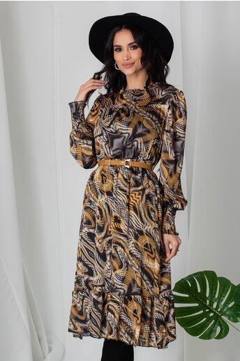 Rochie Lia cu imprimeuri galben mustar si gri