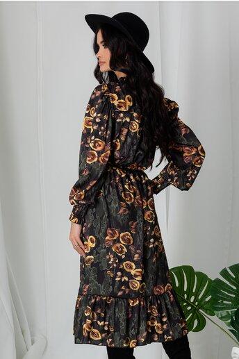Rochie Lia kaki cu imprimeuri florale galbene