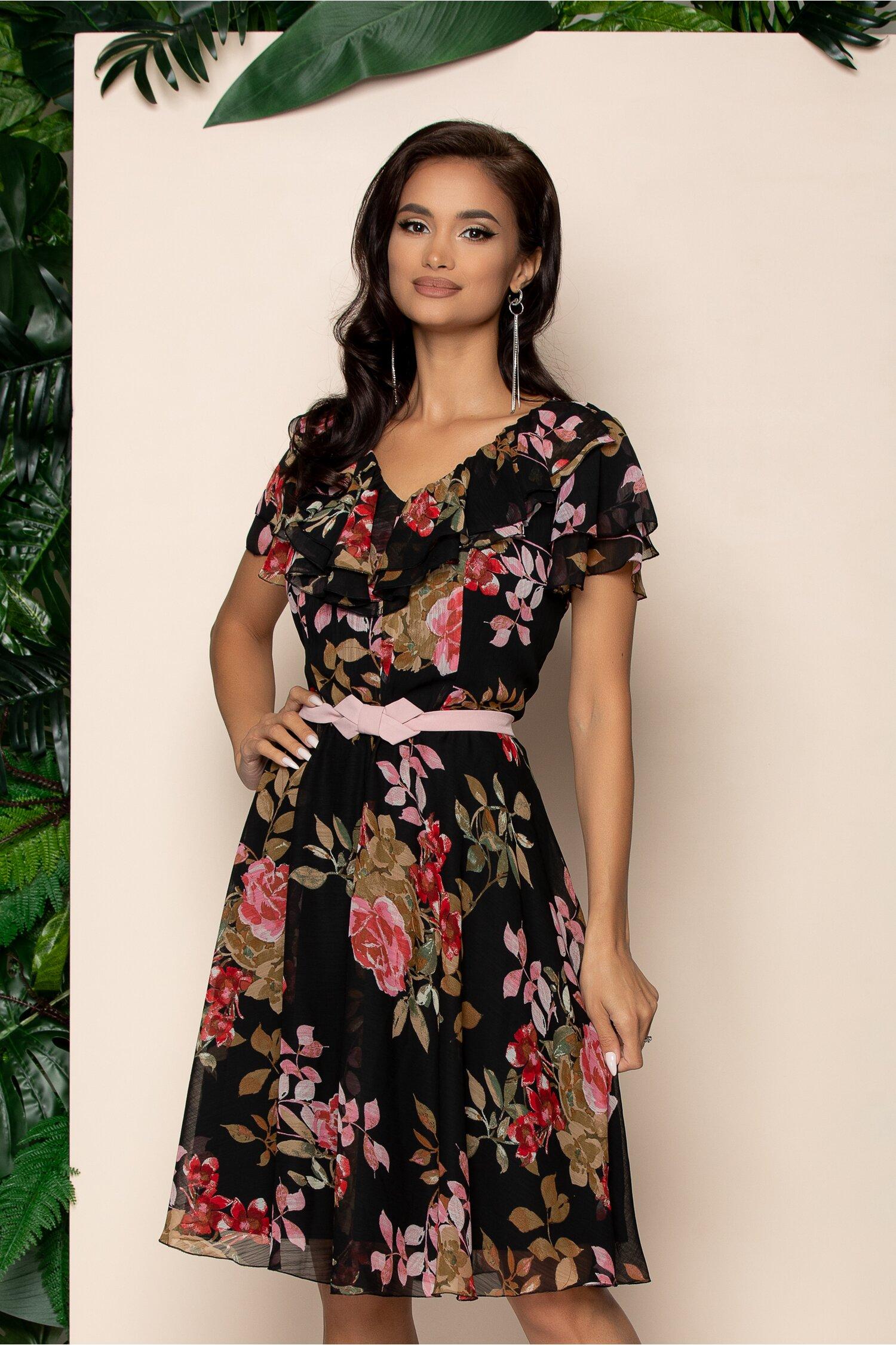 Rochie Lia neagra cu imprimeu floral si fundita in talie