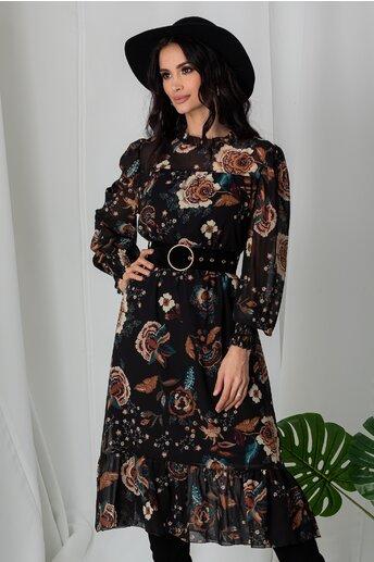 Rochie Lia neagra cu imprimeuri florale maro
