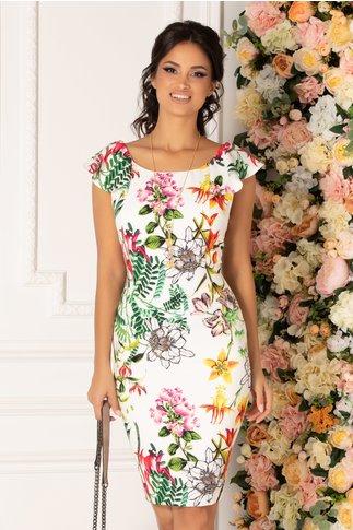 Rochie Lidia alba cu imprimeu floral multicolor