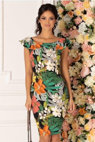 Rochie Lidia neagra cu imprimeu floral multicolor
