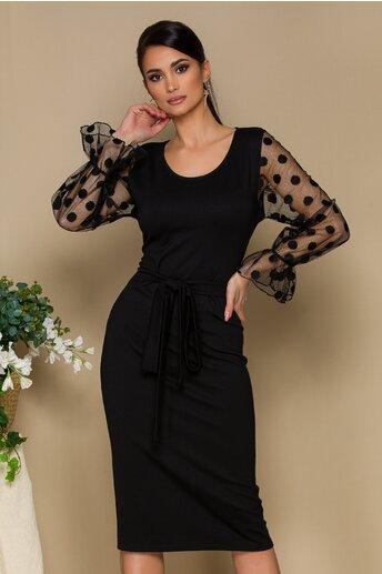 Rochie Lidia neagra cu maneci din tull accesorizate cu buline