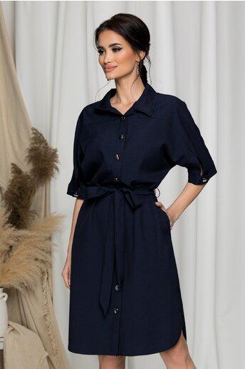 Rochie Ligia bleumarin tip camasa