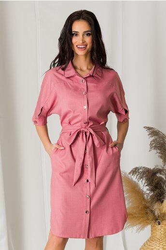 Rochie Ligia roz tip camasa