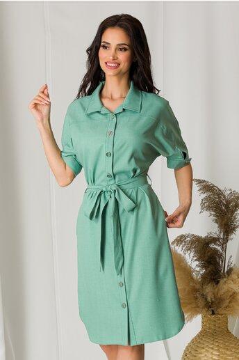Rochie Ligia verde mint tip camasa